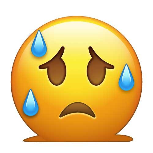 A Sweating Emoji Wearing A Santa Hat Vector Clip Art Cartoon